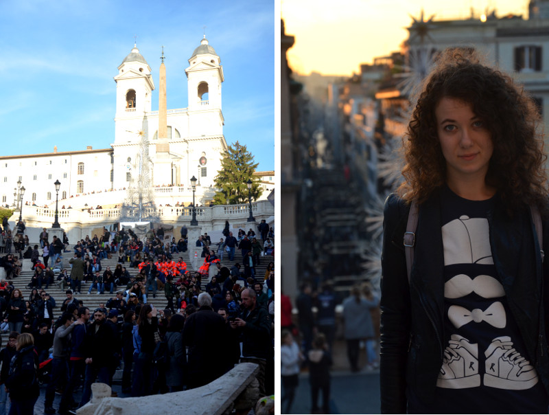 , schody hiszpańskie,turyści, Rzym, Forum Romanum, jak zorganizować weekend w Rzymie, weekend, kręcone włosy, bloger, buycheaplookfit