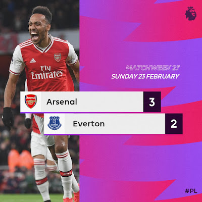 Arsenal 3-2 Everton, Aubameyang Scores Twice, Gunners Completes Comeback To Win (Video Highlight)
