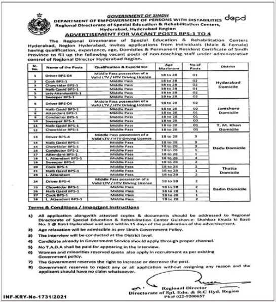 Department of Empowerment of Persons with Disabilities Jobs 2021 for Driver, LTV Driver, HTV Driver, Cook, Chowkidar, Watchman, Naib Qasid, Lady Attendant, Sweeper, Lab Attendant.