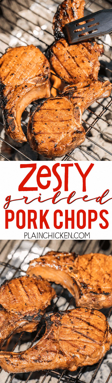 Zesty Grilled Pork Chops - better than any restaurant!!! Pork chops marinated in soy sauce, lemon juice, chili sauce, brown sugar and garlic. A little sweet and a little tangy. Perfect! Marinate overnight and grill for the perfect dinner! SO easy and everyone RAVES about these pork chops!!