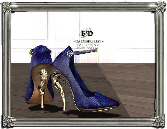NEW golden leaf supermodel high heels at Instrument Event featuring {{BSD Design studio}} original mesh shoes designs