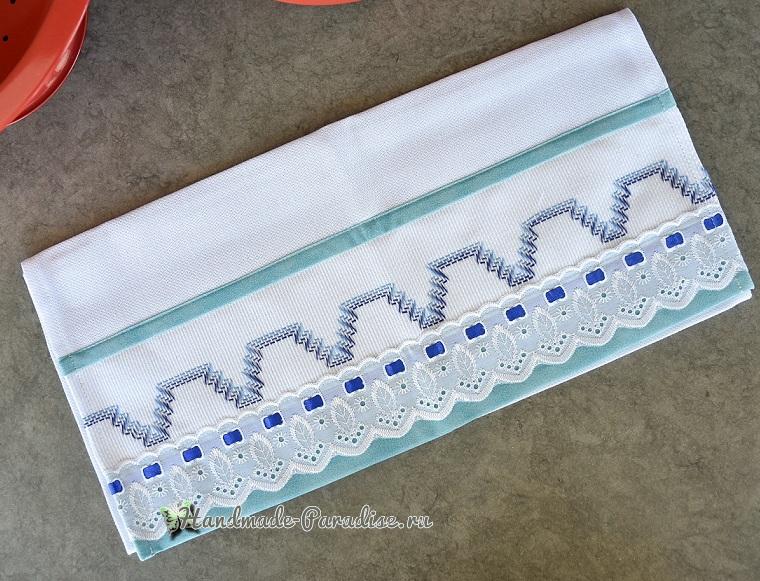 Декорирование полотенца вышивкой счетными швами или протяжками (4)