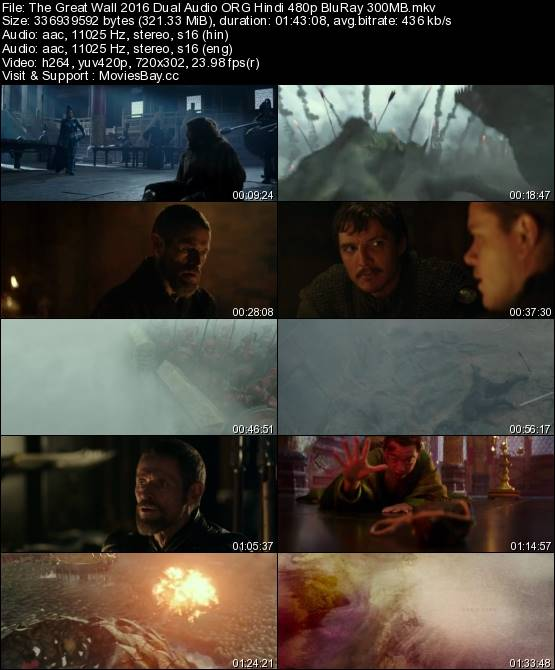 The Great Wall 2016 Dual Audio ORG Hindi 480p BluRay 300MB