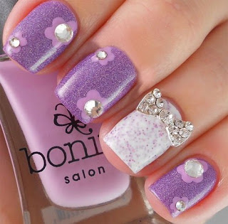 Stylish-and-Cute-Nail-Designs-with-Bows-and-Diamonds-for-Girls-10