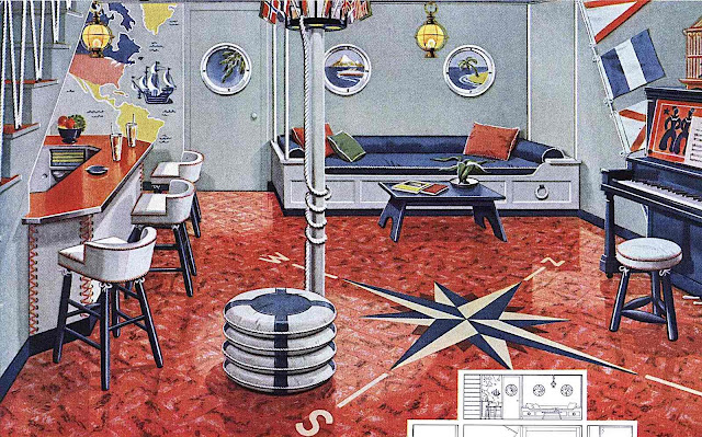 a 1950 nautical style room for home entertaining