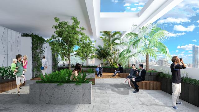 Sân vườn Sky View là nơi thư giãn lý tưởng tại Chung cư The Sun số 3 Mễ Trì