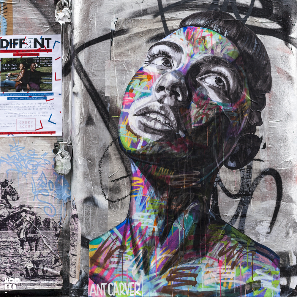 Striking new street art by Ant Carver in Shoreditch, London