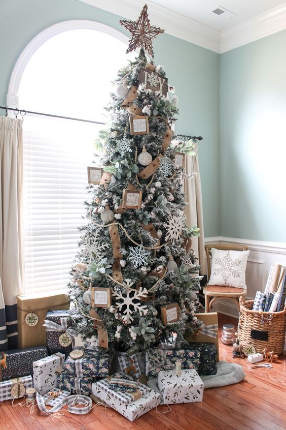 How to Decorate a Flocked Farmhouse Christmas Tree