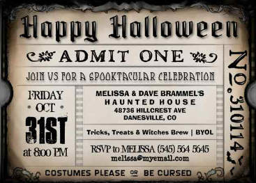 Halloween Brown Ticket Party Invite