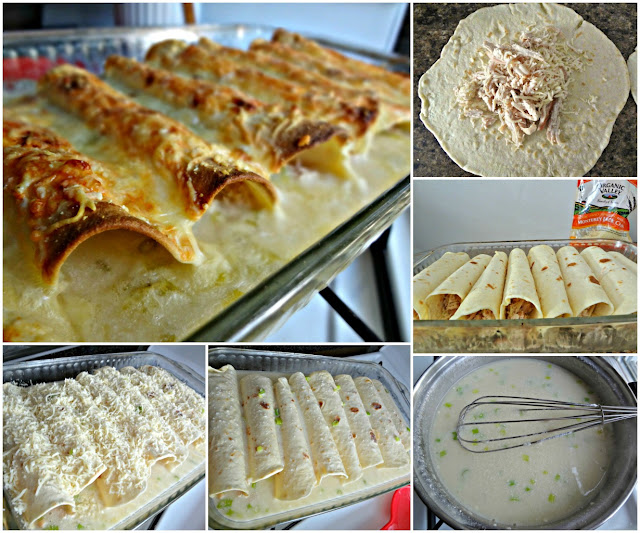 White Chicken Enchiladas with Scallion Sauce