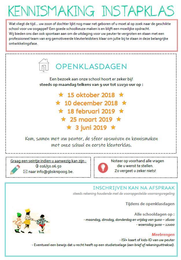 Openklasdagen 1ste kleuterklas 2018-2019