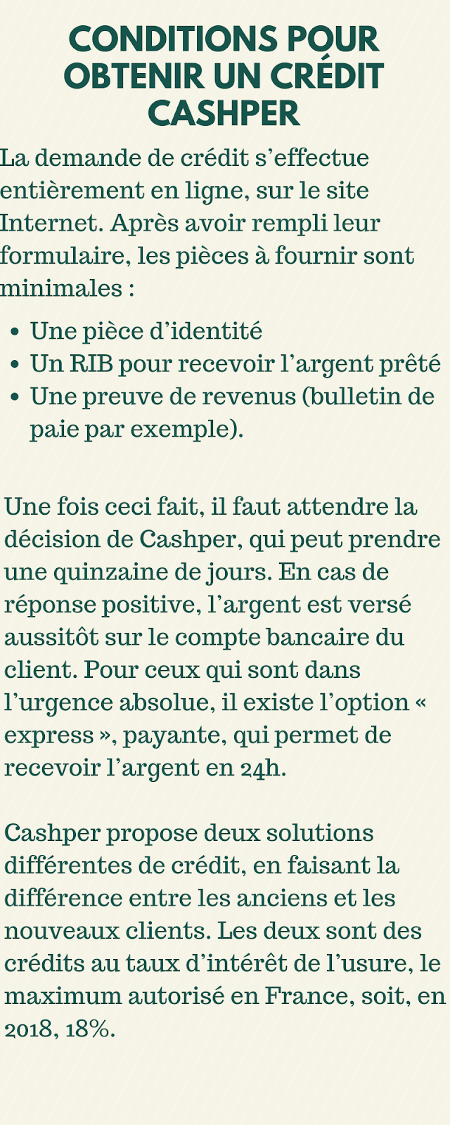 Crédit Cashper - Condition Simple