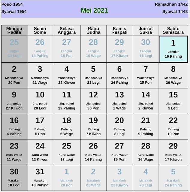 Kalender Jawa Mei 2021 Lengkap Hari Baik & Buruk