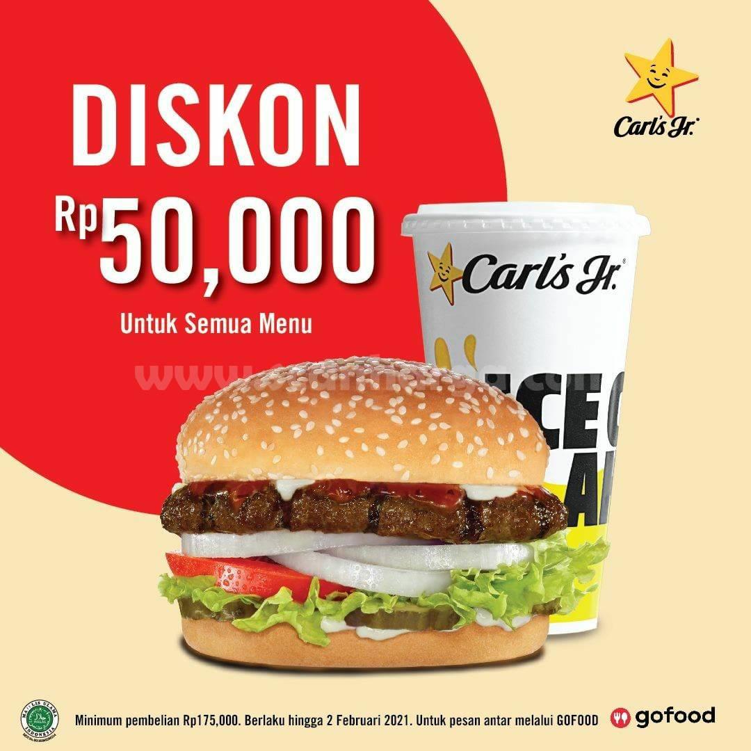 CARL'S JR Promo Spesial GOFOOD! Diskon Rp 50.000 untuk semua Menu