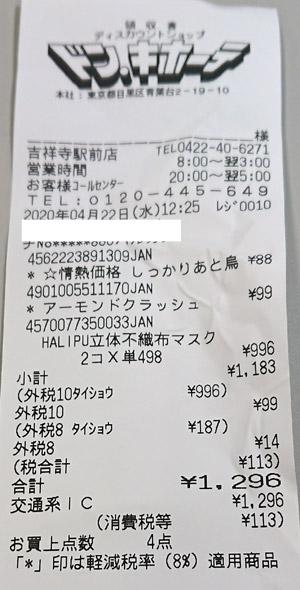ドン・キホーテ 吉祥寺駅前店 2020/4/22 マスク購入のレシート