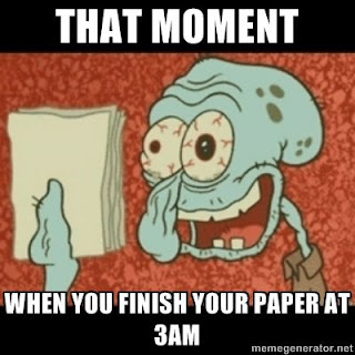 Squidward from SpongeBob hold up paper, looking tired. It's like that moment when you finish your paper at 3 a.m.