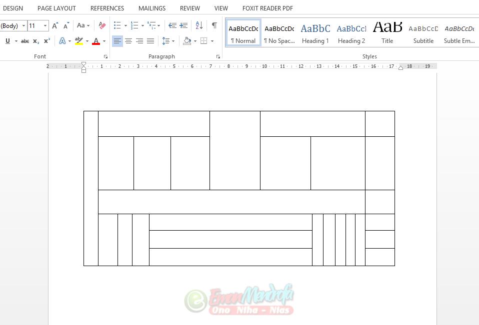 Contoh tabel yang digambar dengan draw table