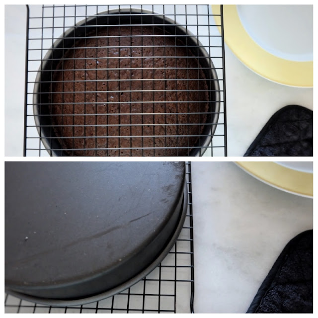 flipping cake out of pan onto rack