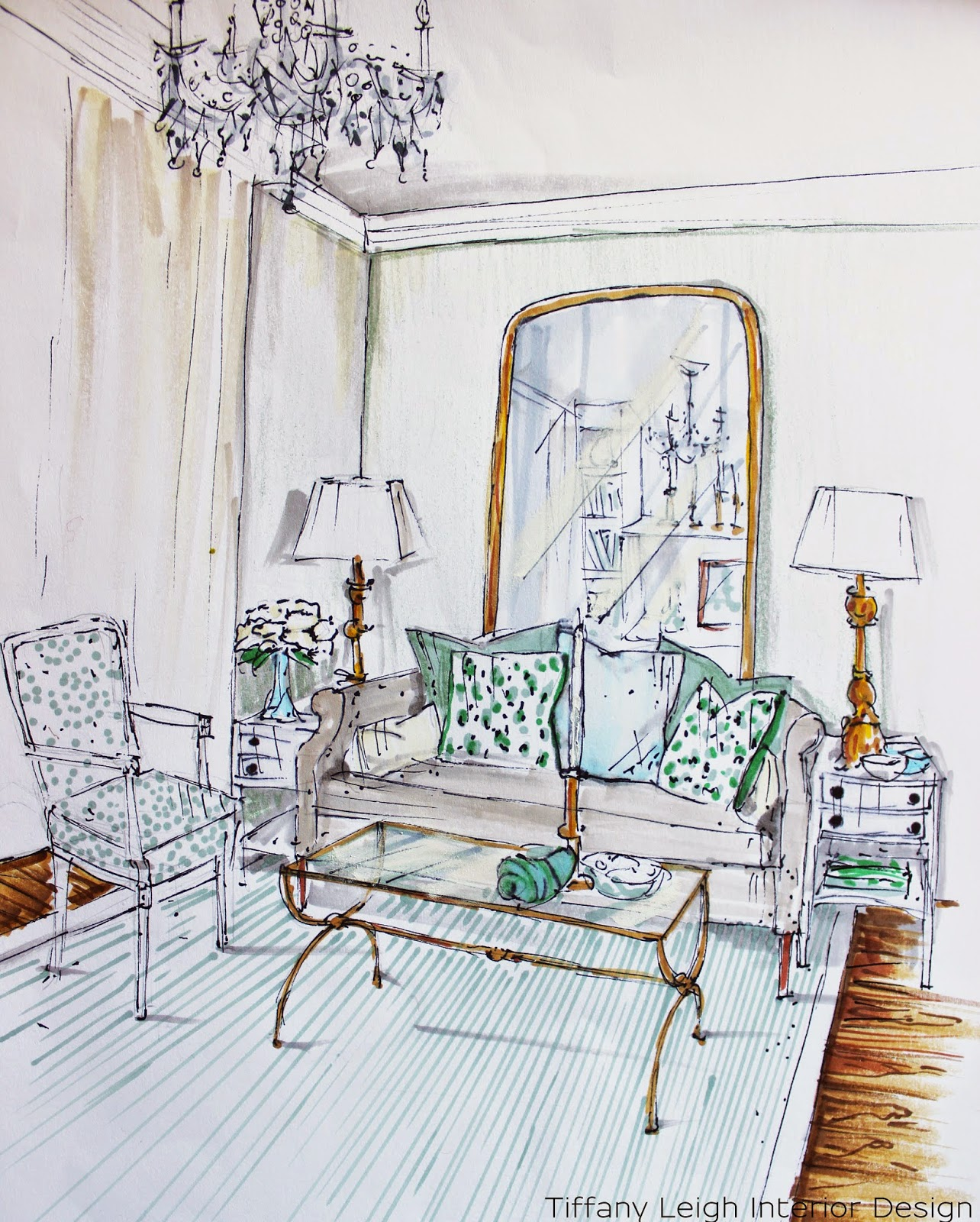 Interior Design Sketch: Tiffany Leigh Interior Design: In My Sketchbook: Living