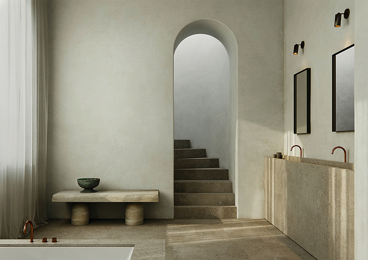 A spa like bathroom with the perfect ambiance by Photonic Studio