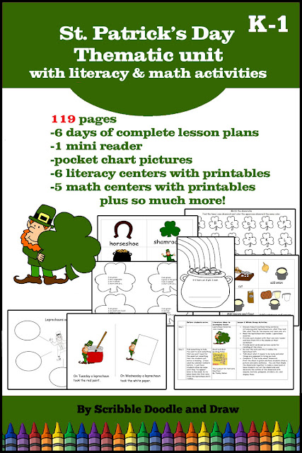 St. Patrick's day thematic unit with literacy and math worksheets