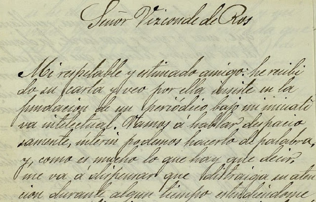 Fragmento de la carta que envía al vizconde de Ros exponiéndole las razones para no aceptar la driección de un periódico masónico