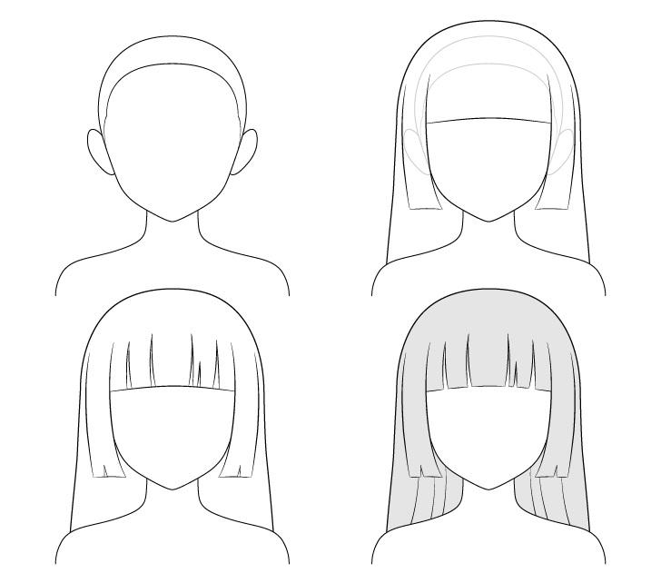 menggambar rambut puteri