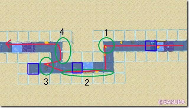 マインクラフト 水流を使った自動仕分け機 蛇行する水路
