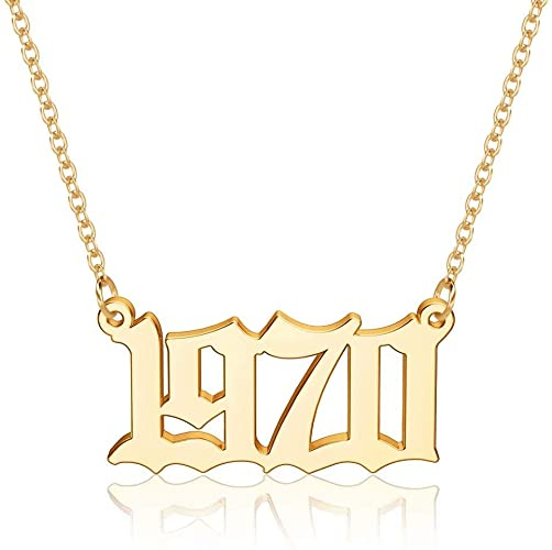 50% OFF 18K Gold Plated Old English Birth Year Number Pendant Necklace