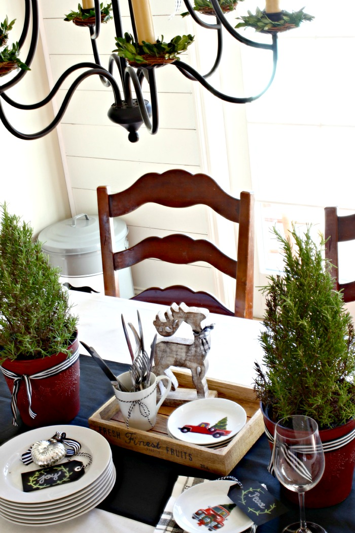 H&M Home table linens and Rosemary plants with Christmas decor - www.goldenboysandme.com