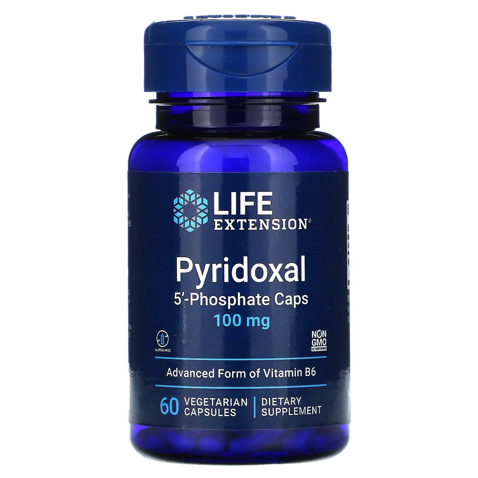 Life Extension, пиридоксаль 5'-фосфат в капсулах, 100 мг, 60 вегетарианских капсул