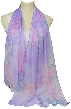Purple Soft Chiffon Scarves Shawls Wraps With Beautiful Patterns