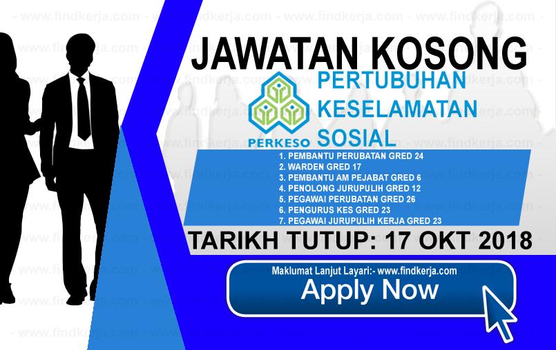Jawatan Kerja Kosong Terkini PERKESO logo www.ohjob.info www.findkerja.com oktober 2018