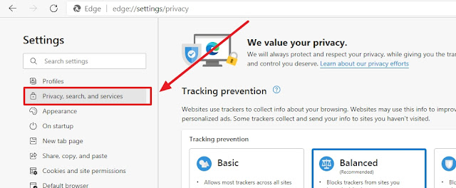 arrow pointing to privacy options of edge