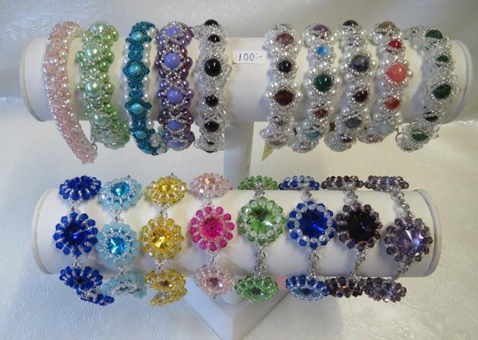Pärlade glittriga armband