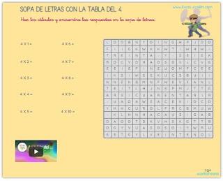 Sopa de letras con las tablas de multiplicar.