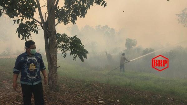 Bupati, Kapolres dan Ketua IC Tim Karhutla Pulpis Bersama Padamkan Api