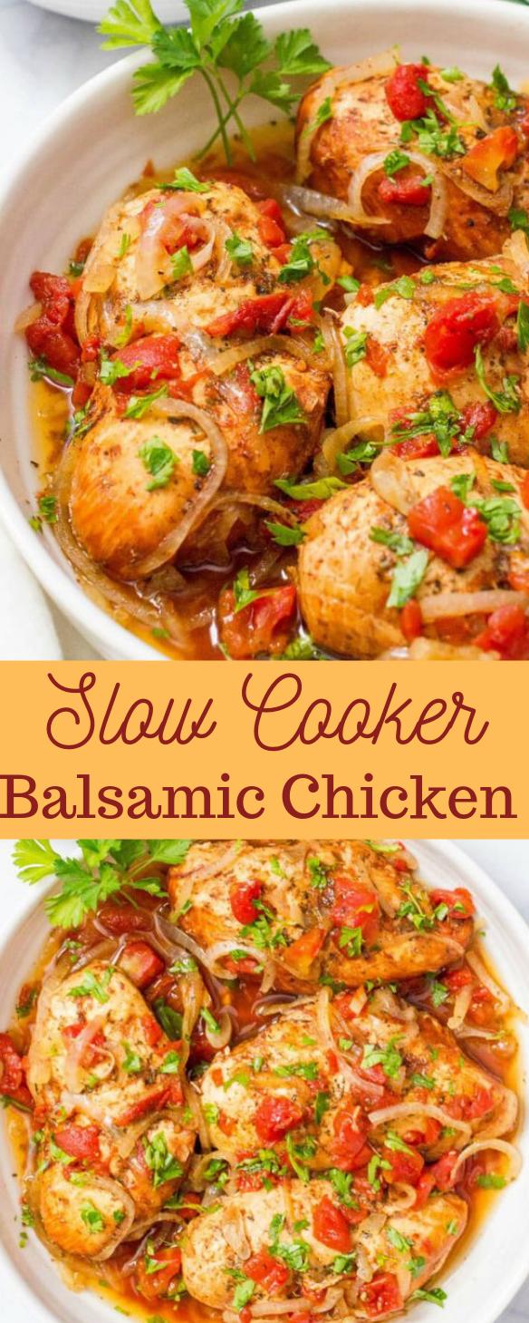SLOW COOKER BALSAMIC CHICKEN #chicken #recipe #balsamic #cooker #easy
