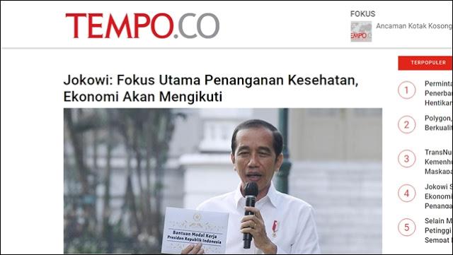 Kini Minta Utamakan Kesehatan ketimbang Ekokomi, Pernyataan Jokowi Disebut Telat