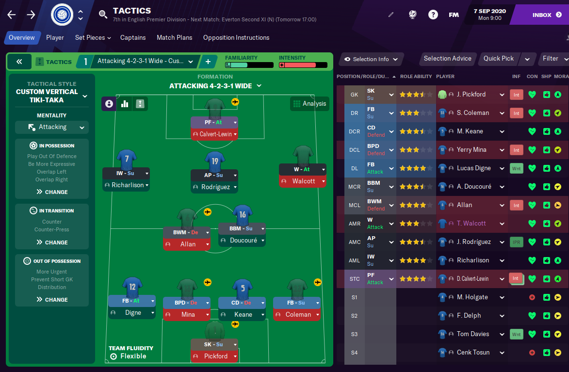 FM21 Everton Tactic Formation