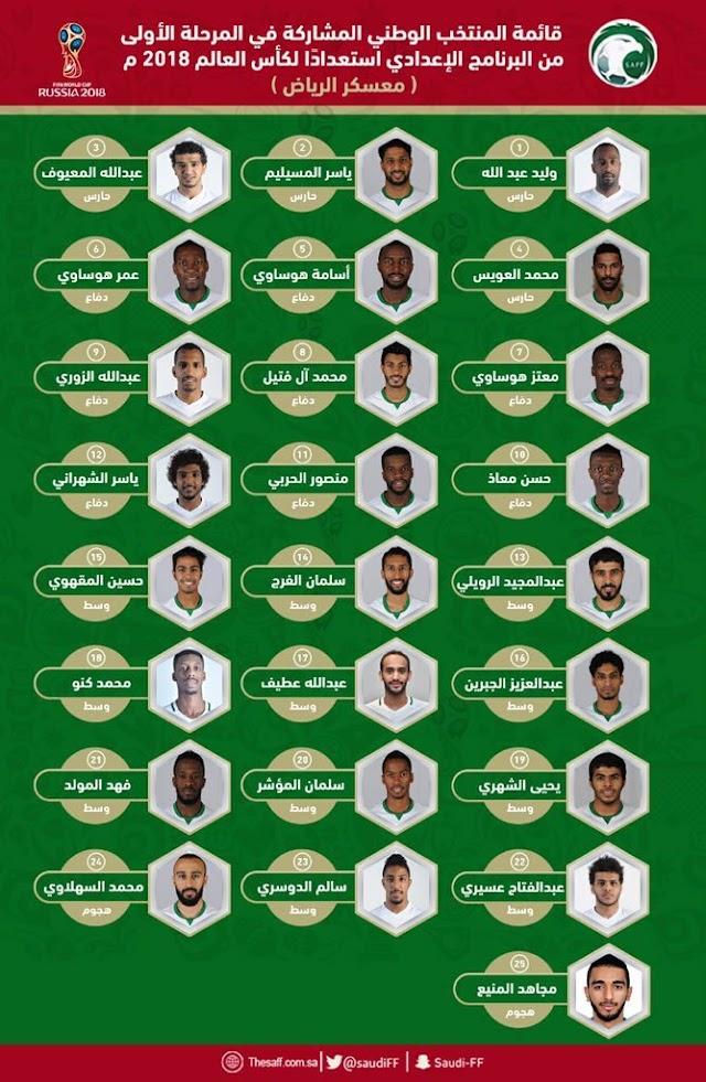 قائمة المنتخب السعودي  استعداداً لكأس العالم في روسيا.