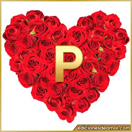 corazón de rosas con letra P
