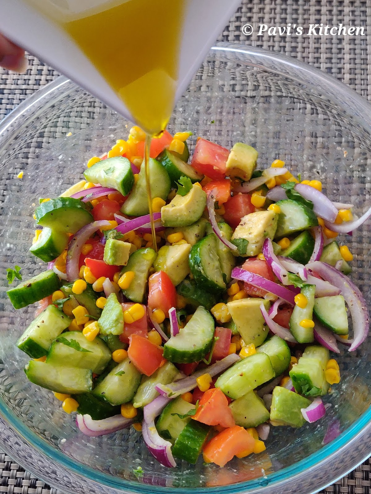 Avocado Corn Vegetable Salad Recipe / Butter Fruit Corn Salad Recipe