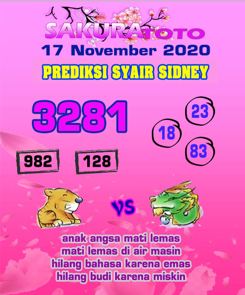 Syair Sakuratoto Sidney Selasa 17 November 2020