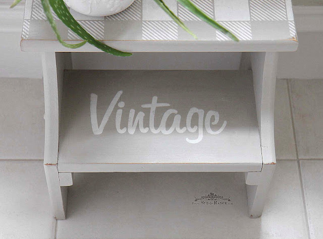 Step stool makeover with Old Sign Stencils Bliss-Ranch.com