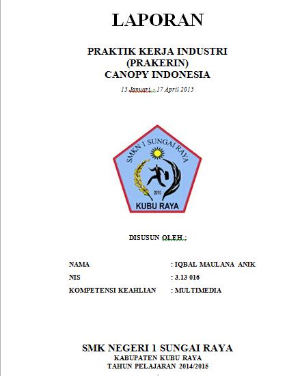 Contoh Format Laporan Prakerin Praktik Kerja Industri Prialangka