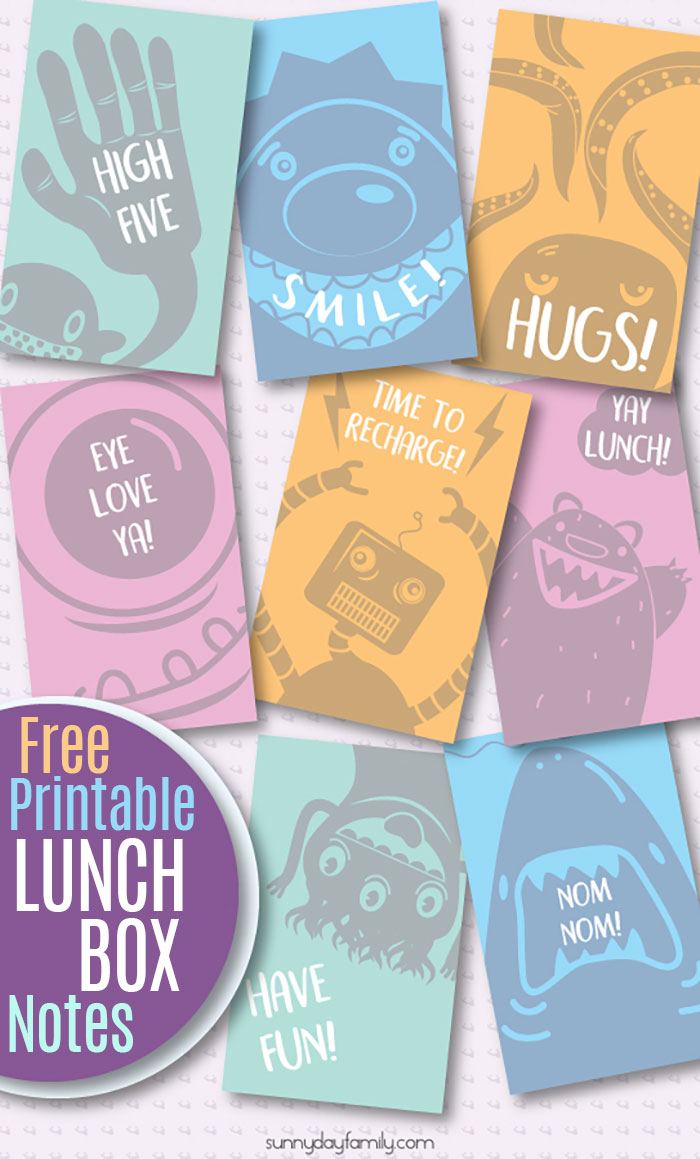 Fun lunch box notes your kids will love! Free printable lunch box notes for kids that are sure to make them smile. Cute animals, robots, silly monsters and more to add a little fun to your school lunch. Super cute printables for kids! #freeprintables #lunchboxlove #forkids