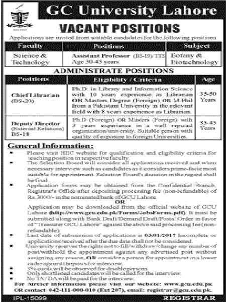 GC University Lahore Jobs