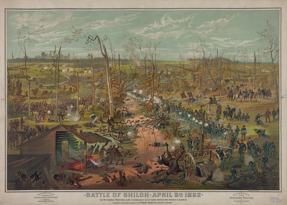 Illustration of the Battle of Shiloh. April 6, 1862. Angel's Glow. marchmatron.com
