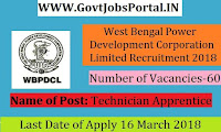 West Bengal Power Development Corporation Limited Recruitment 2018 – 60 Technician Apprentice